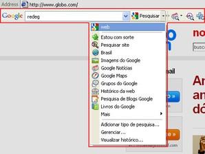 Barra de Ferramentas Google: diversas opções de busca.