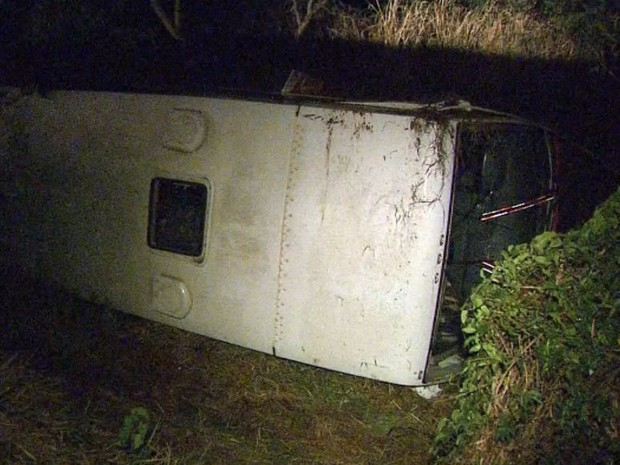 Ônibus com 16 pessoas caiu em barranco ao lado da pista em Cristais Paulista, SP (Foto: Márcio Meireles/EPTV)