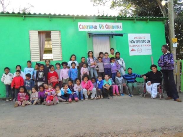 De férias, crianças passam o dia no Cantinho Vó Georgina, na Zona Sul de Porto Alegre (RS) (Foto: Rafaella Fraga/G1)