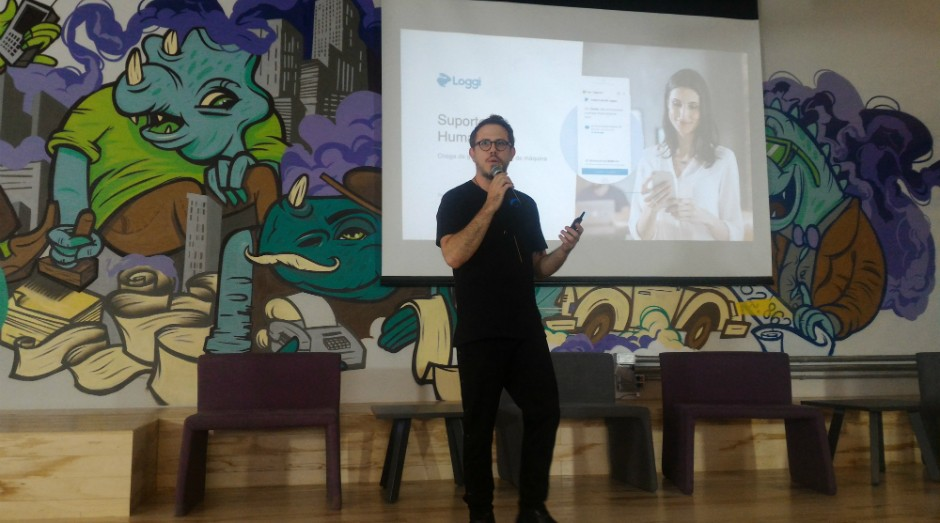 Arthur Debert, cofundador da Loggi, durante palestra no Nubank (Foto: Filipe Oliveira)
