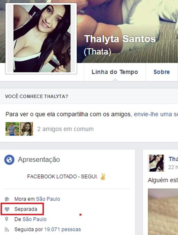 Thalyta Santos e Pepê se separam (Foto: Reprodução/Facebook)