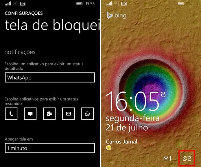 Windows Phone exibirá mensagem do WhatsApp na tela de bloqueio na mesma ordem definida pelo usuário (Foto: Reprodução/Elson de Souza)