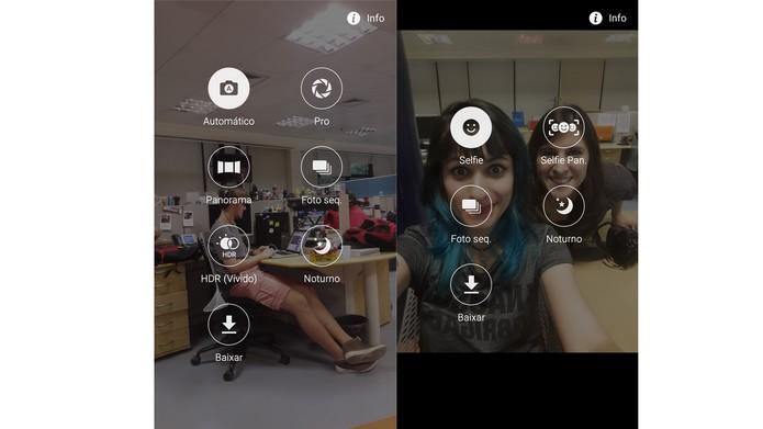 Opções das câmeras traseira e frontal do Galaxy A7 2016 (Foto: Reprodução/Ana Marques)