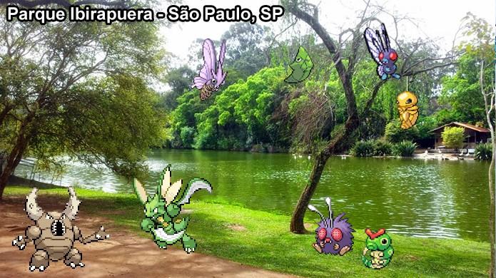 Parques também possuem pokémons do tipo Inseto em Pokémon Go, além de sempre ter alguns de Grama (Foto: Reprodução/Rafael Monteiro)