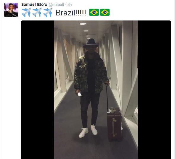 BLOG: De aeroporto, Eto'o manda mensagem em portunhol para os torcedores brasileiros