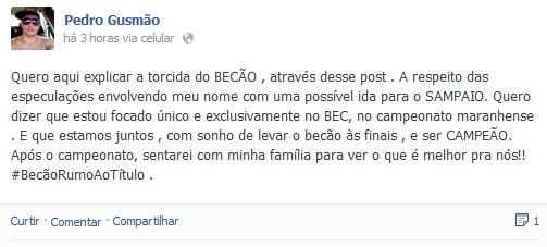 Pedro Gusmão nega acerto em perfil de rede social (Foto: Divulgação)