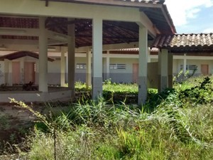 Espaço da escola foi invadido por matagal (Foto: Jorge Pereira / Una News)