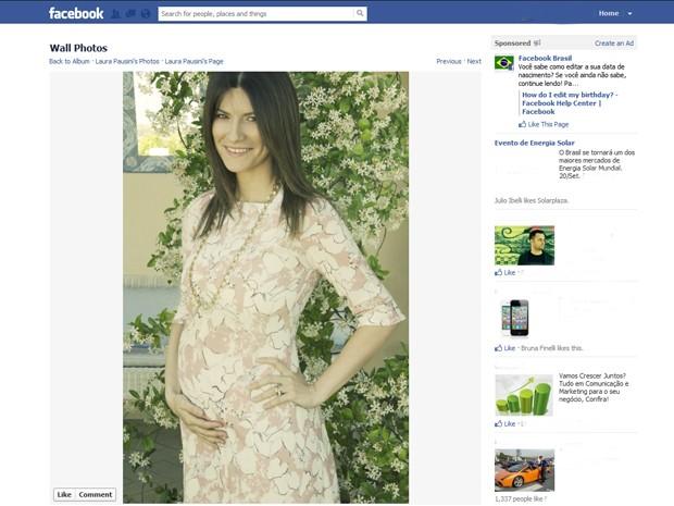 Foto postada por Laura Pausini neste sábado (15) anunciando sua primeira gravidez (Foto: Reprodução/Facebook)