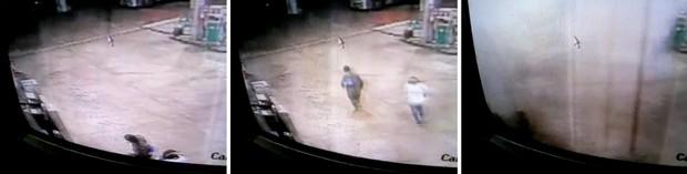 Sequência de imagens mostra momento em que bandidos usam dinamite para explodir cofre do posto de gasolina (Foto: Reprodução/ Inter TV Cabugi)