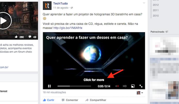 Clicando sobre um vídeo do Facebook para que ele seja ampliado (Foto: Reprodução/Marvin Costa)