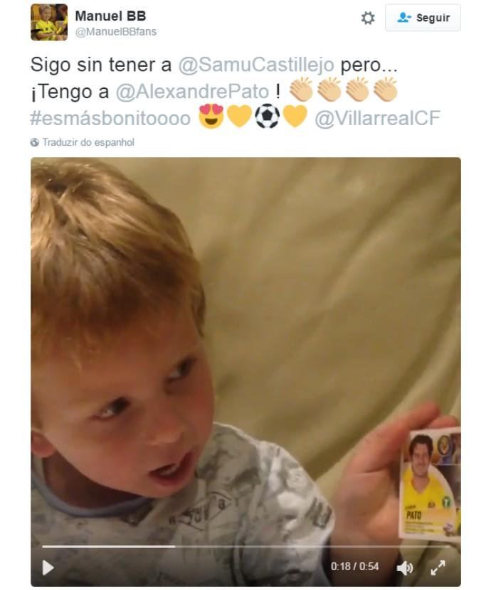 BLOG: Criança explode de alegria ao tirar figurinha de Alexandre Pato em álbum