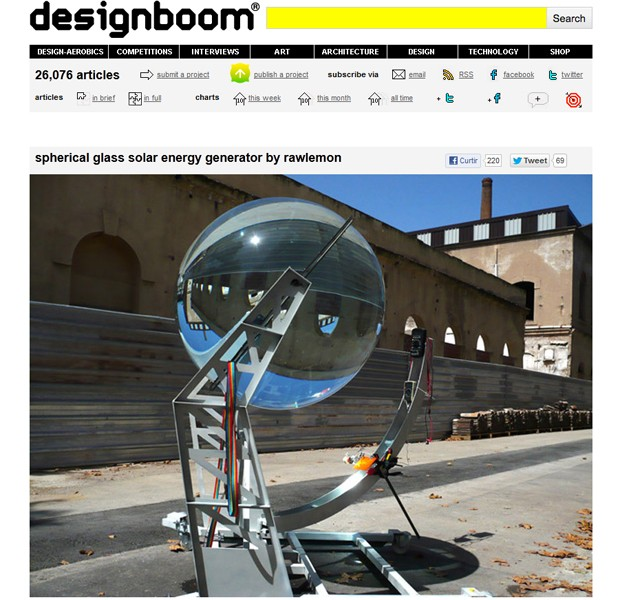 """Lente esférica gigante criada por arquiteto melhora a absorção de energia solar (Foto: Reprodução/""""Designboom"""")"""