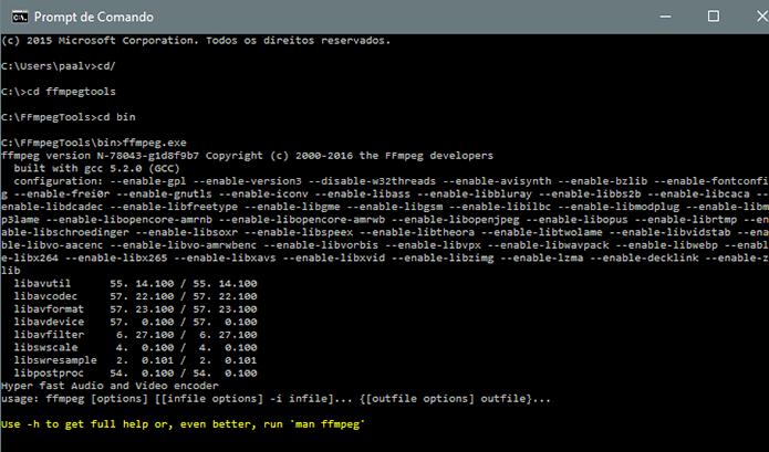 FFmpeg funciona direto no terminal de comando (Foto: Reprodução/Paulo Alves)