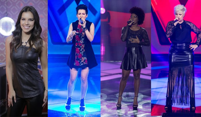 Mariana Rios, Joana Castanheira, Mylena Jardim e D'Lara usaram o visual Rocker no The Voice Brasil (Foto: Artur Meninea e Isabella Pinheiro)