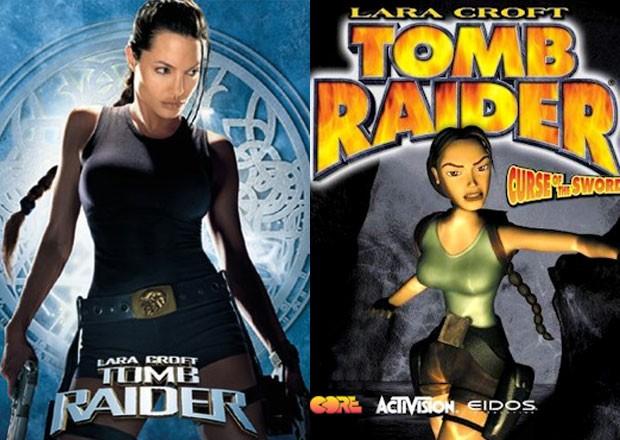 Angelina Jolie é Lara Croft; capa de game de Game By Advance de 2001 mostra visual da heróina dos games na época de lançamento do filme (Foto: Divulgação/IMDB/Eidos)