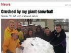 Garota de 16 anos é esmagada por bola de neve e fica ferida na Inglaterra
