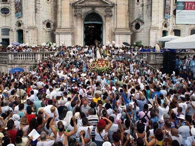 Comemoração à padroeira da Bahia em Salvador (Foto: Egi Santana/G1)