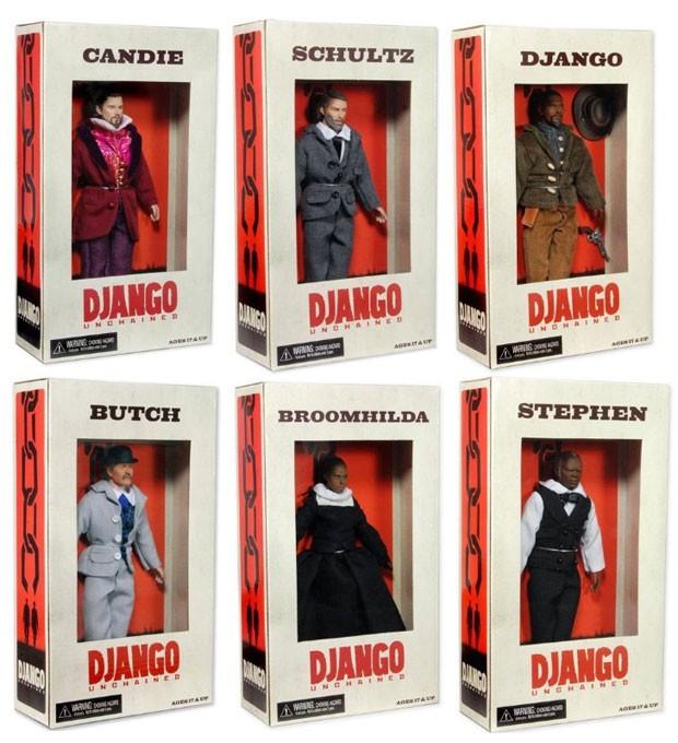 Coleção dos bonecos de 20 cm, baseados nos personagens de 'Django Livre', vendida no site Amazon.com, nos EUA (Foto: Reprodução/Amazon)