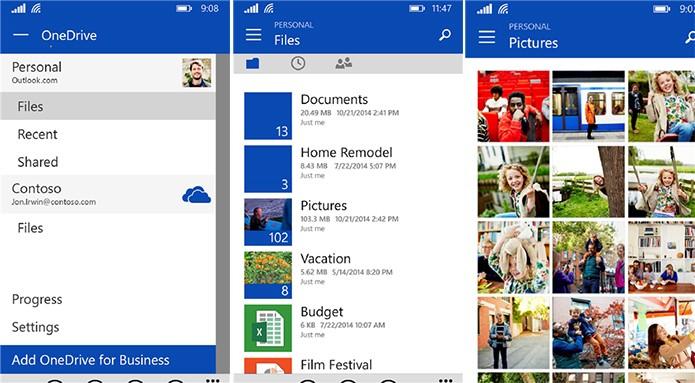 OneDrive foi atualizado com nova interface e suporte a conta de empresas (Foto: Divulgação/Windows Phone Store)