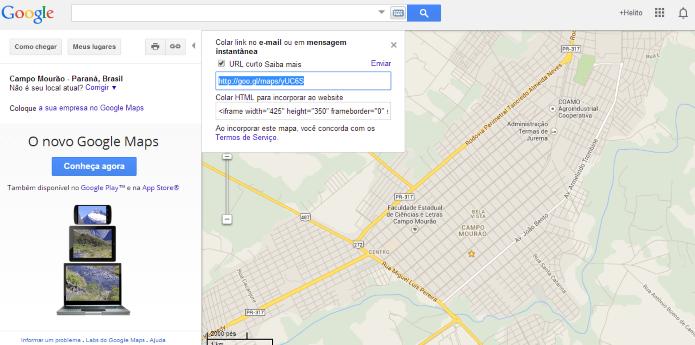 Versão clássica do Google Maps pode criar links curtos (Foto: Reprodução/Helito Bijora)
