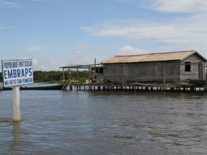 Placa no Lago do Maicá indicando propriedade particular (Foto: Divulgação/MPE e MPF)
