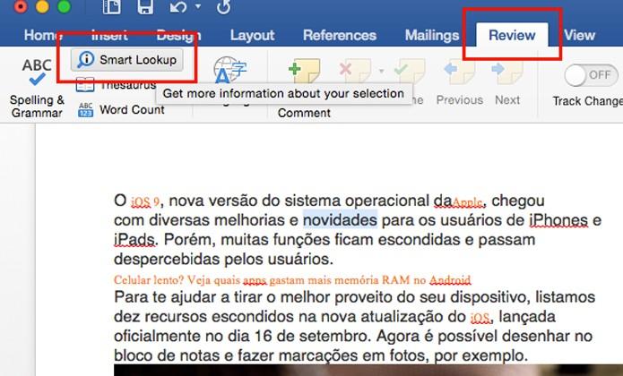 Ou acesse a opção Smart Lookup pelo menu superior (foto: Reprodução/André Sugai)
