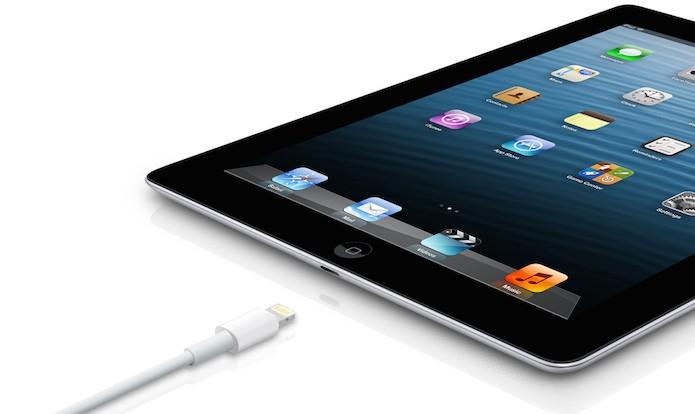 iPad 4 ou iPad com tela Retina trouxe o conector Lightning (Foto: Divulgação/Apple)