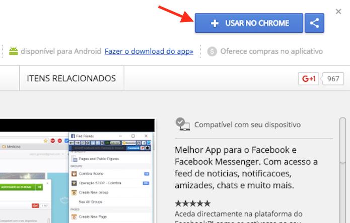 Opção para preparar o download da extensão Blue Messenger no Google Chrome (Foto: Reprodução/Marvin Costa)