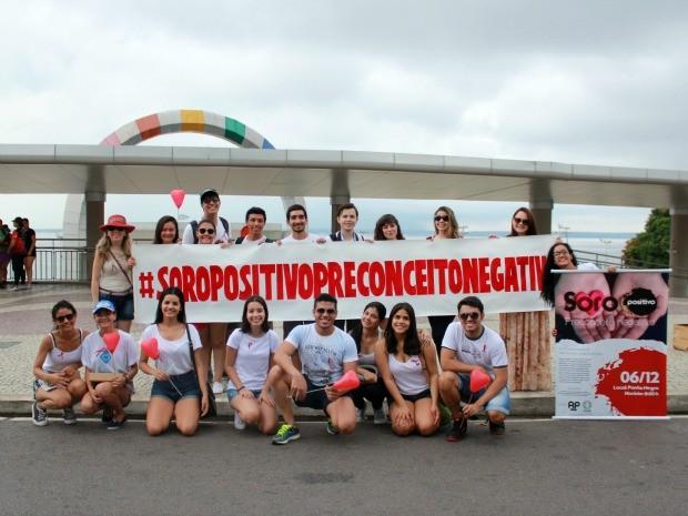 Campanha 'Soro Positivo, Preconceito Negativo' ocorreu neste domingo (6) (Foto: Jamile Alves/G1 AM)