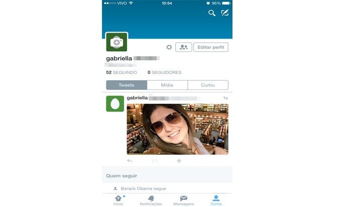 Depois de escolher sua foto, basta apertar em Tweetar (Reprodução/ Gabriella Fiszman)