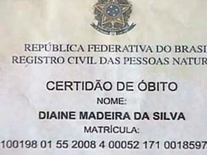 Certidão de óbito de Diaine, morto em 2008 (Foto: Reprodução/RBS TV)
