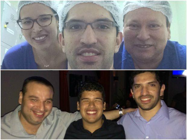 Benedito Dias e os 4 filhos apaixonados por medicina (Em cima: - da direita para a esquerda - Maysa, Eduardo e o pai; em baixo: Fabrício, André e Eduardo) (Foto: Benedito Dias/Arquivo Pessoal)