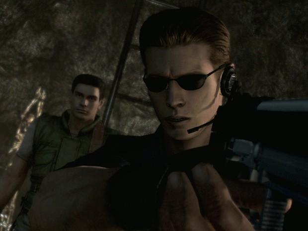 Protagonista Chris Redfield e vilão Albert Wesker em cena do remake de 'Resident Evil' (Foto: Divulgação/Capcom)