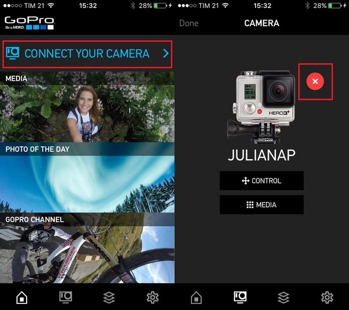 Abra o GoPro App e delete seu dispositivo (Foto: Reprodução/Juliana Pixinine)