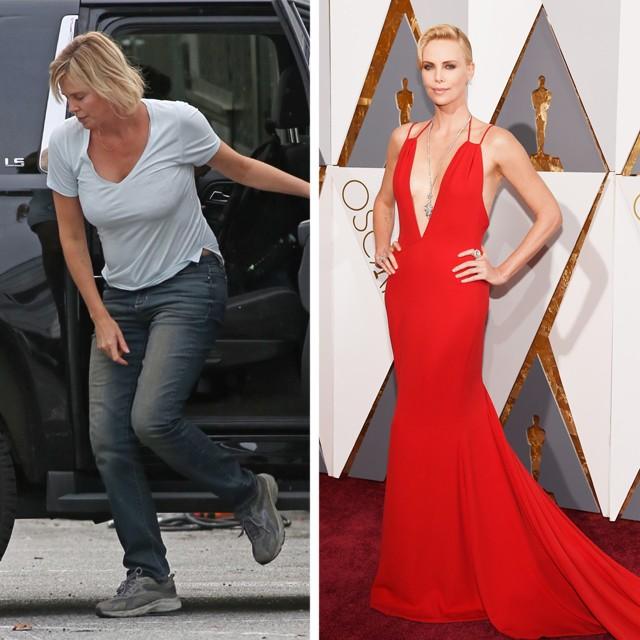 Charlize Theron em setembro de 2016, à esquerda, e em fevereiro de 2016, à direita (Foto: AKM-GSI  e Getty Images)