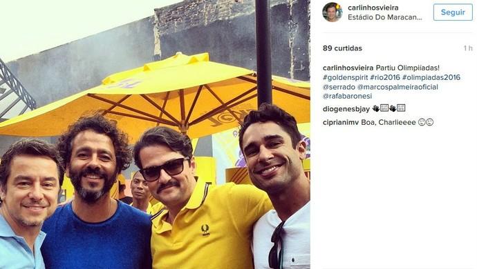 Marcelo Serrado e Marcos Palmeira prontos para a festa (Foto: Reprodução / Instagram)