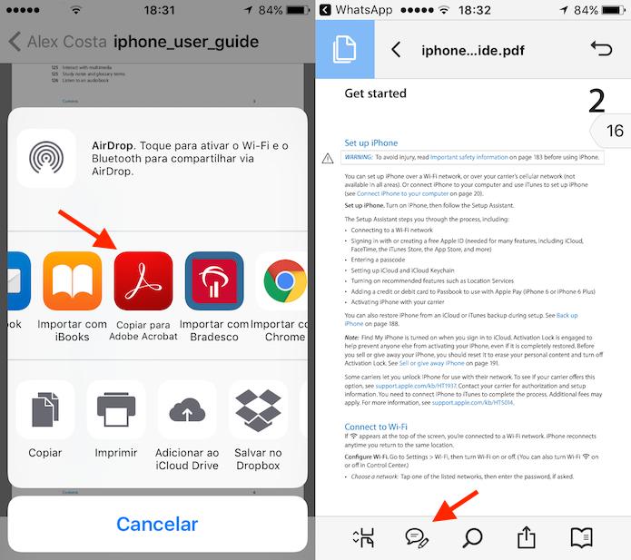 Ação para iniciar a edição no Adobe Reader de um documento PDF recebido no WhatsApp (Foto: Reprodução/Marvin Costa)