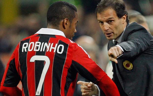 Allegri e Robinho, Milan x Napoli (Foto: Reuters)