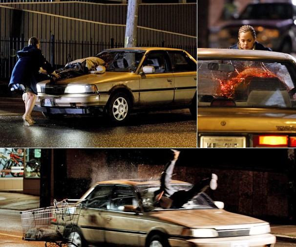 O sem-teto Thomas Bardo (Stephen Rea) é atropelado pela assistente de enfermagem e fica preso no para-brisa (Foto: Divulgação)