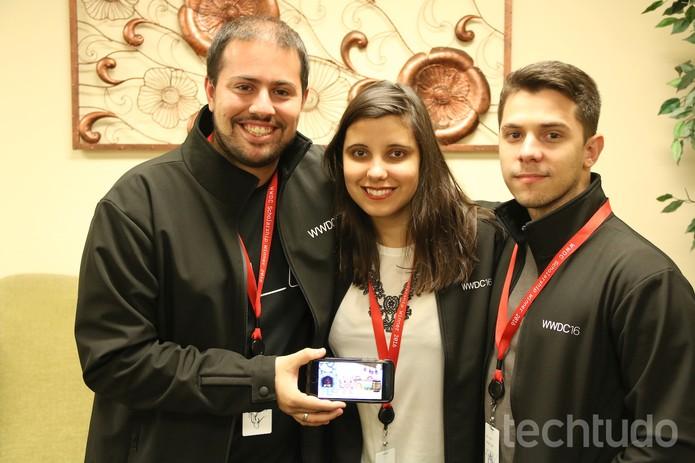 Criadores do Diapet: app nasceu a partir do diagnóstico de Beatriz Magalhães (Foto: Fabrício Vitorino/TechTudo)
