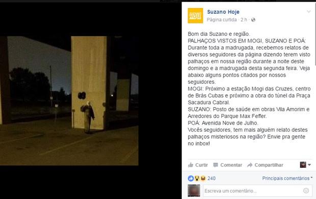 Página de Suzano fala que recebeu relatos de moradores que disseram ter vistos palhaços na cidade (Foto: Reprodução/Facebook)