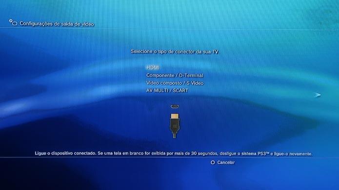 Reinicie as configurações de vídeo para que o PS3 volte a exibir imagem (Foto: Reprodução/Tais Carvalho)