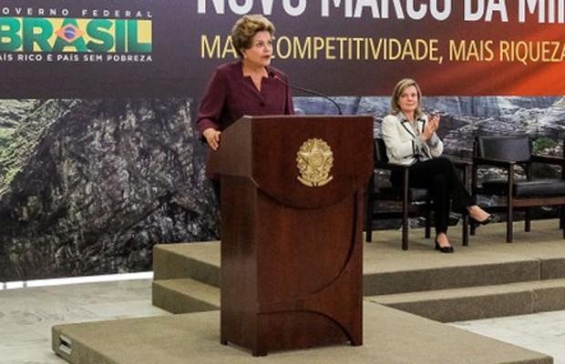 A presidente Dilma durante cerimônia do lançamento do marco regulatório da mineração (Foto: Roberto Stuckert / PR)