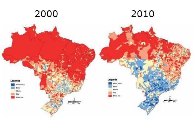 Mapas divulgados pelo Ipea mostram Índice de Vulnerabilidade Social (IVS) por município, em 2000 e em 2010. O vermelho mostra indicadores 'ruins', com vulnerabilidade alta; o azul, indicadores 'bons', com vulnerabilidade baixa (Foto: Ipea/Reprodução)