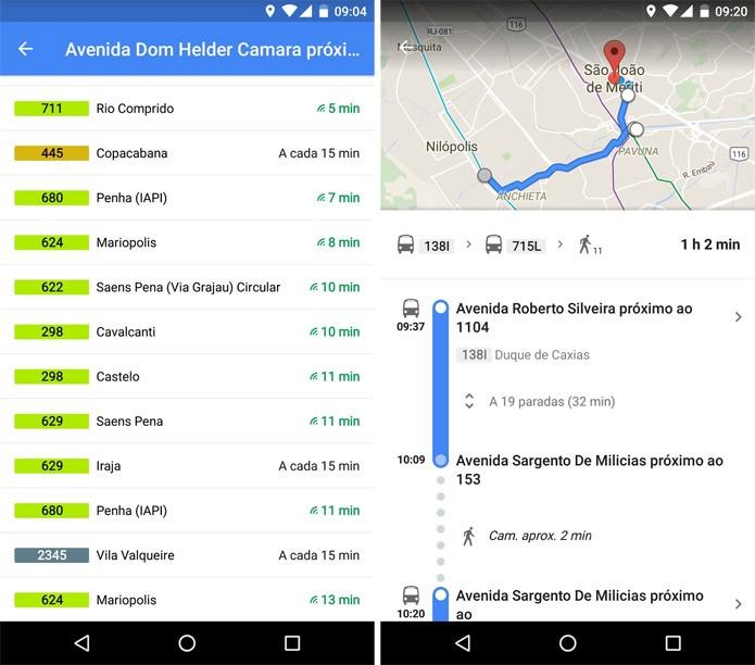 Google Maps com os horários das linhas de ônibus em tempo real (Imagem: Divulgação/Google)