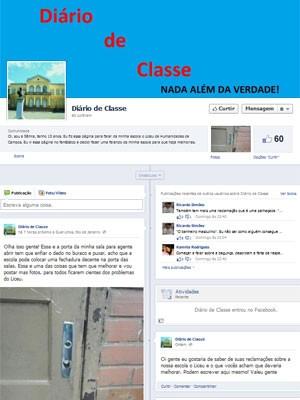 A página criada pela estudante Sâmia Souza para debater os problemas de sua escola (Foto: Reprodução/Facebook)