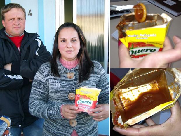 Mulher encontrou preservativo em molho de tomate (Foto: Montagem sobre fotos de Divulgação/Brigada Militar e Bruna Ostermann)
