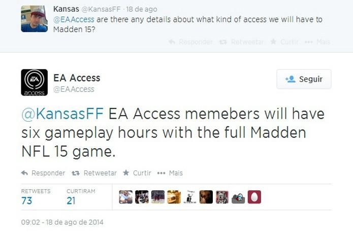 Twitter da EA sobre o tempo de gameplay do serviço para a versão demo de Madden 15 (Foto: Reprodução / EA )