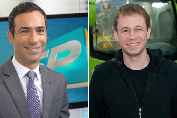 César Tralli, do SPTV 1ª edição, e Tiago Leifert, do Globo Esporte SP; os programas passam a ser exibidos também na internet (Foto: Rede Globo)