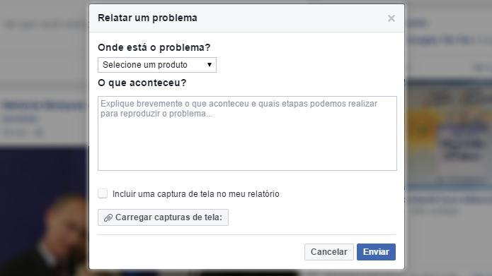 Denúncia do Facebook permite relatar vários tipos de problemas na rede social (Foto: Reprodução/Facebook)
